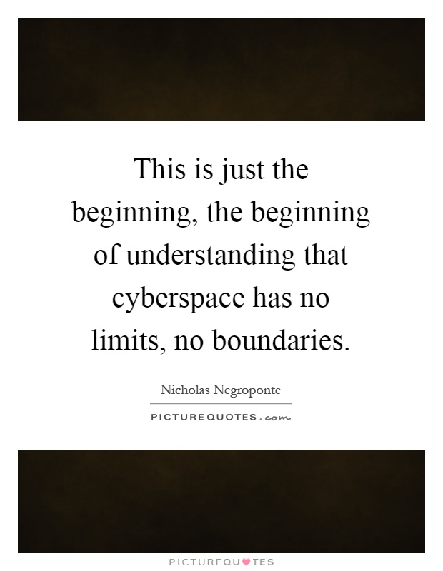 This is just the beginning, the beginning of understanding that cyberspace has no limits, no boundaries Picture Quote #1