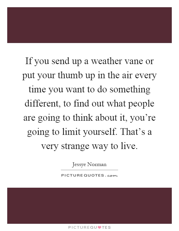 If you send up a weather vane or put your thumb up in the air every time you want to do something different, to find out what people are going to think about it, you're going to limit yourself. That's a very strange way to live Picture Quote #1