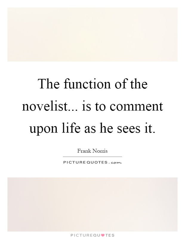 The function of the novelist... is to comment upon life as he sees it Picture Quote #1