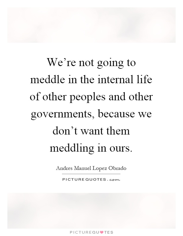 We're not going to meddle in the internal life of other peoples and other governments, because we don't want them meddling in ours Picture Quote #1