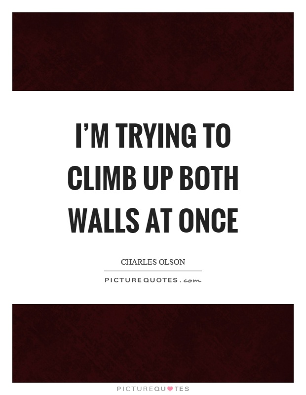 I'm trying to climb up both walls at once Picture Quote #1