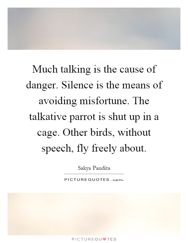Much talking is the cause of danger. Silence is the means of avoiding misfortune. The talkative parrot is shut up in a cage. Other birds, without speech, fly freely about Picture Quote #1