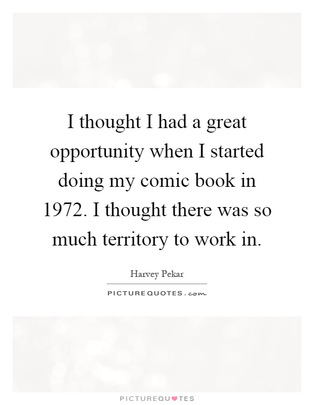 I thought I had a great opportunity when I started doing my comic book in 1972. I thought there was so much territory to work in Picture Quote #1