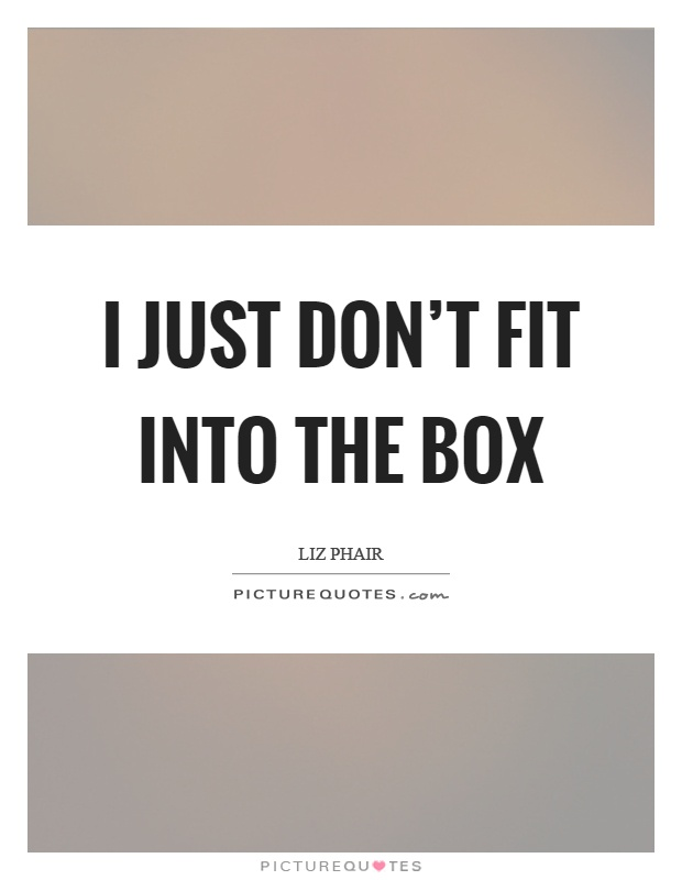 I just don't fit into the box Picture Quote #1