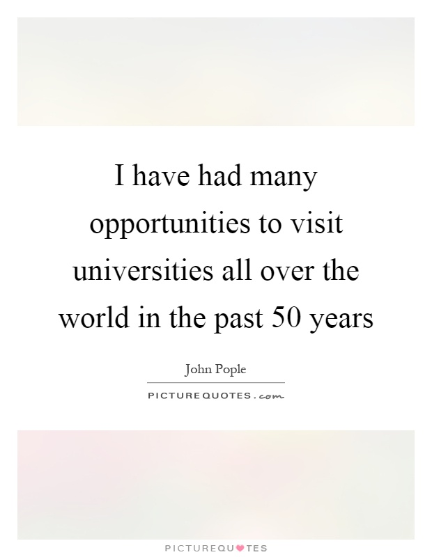 I have had many opportunities to visit universities all over the world in the past 50 years Picture Quote #1