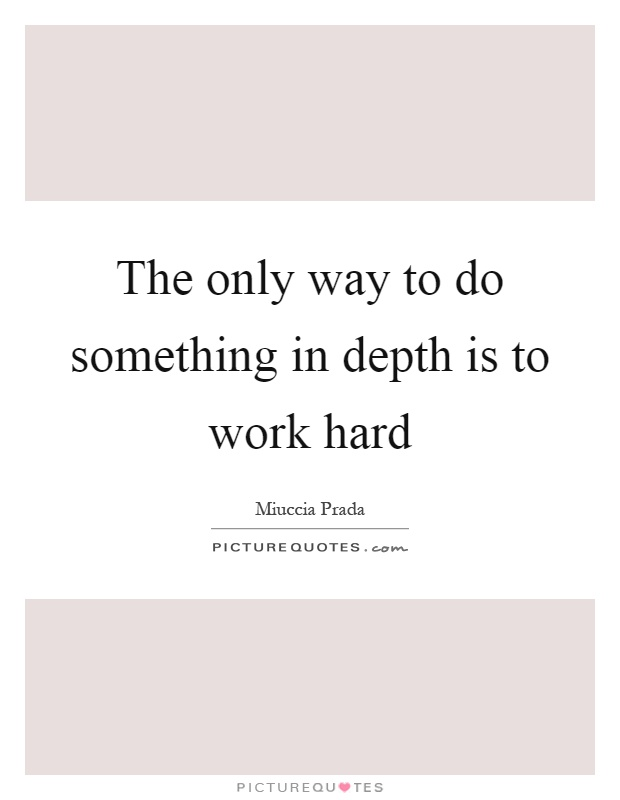 The only way to do something in depth is to work hard Picture Quote #1