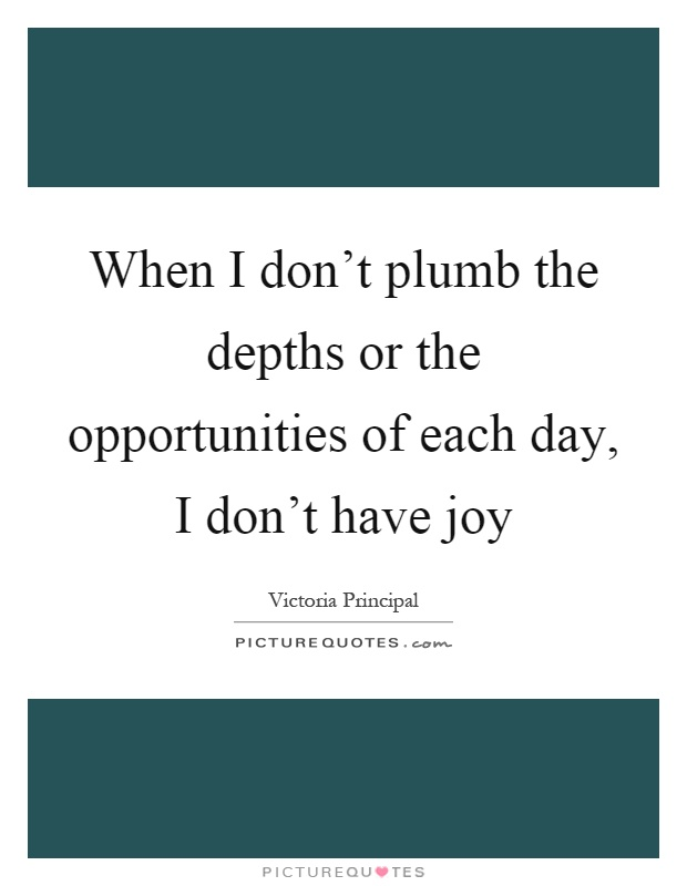 When I don't plumb the depths or the opportunities of each day, I don't have joy Picture Quote #1