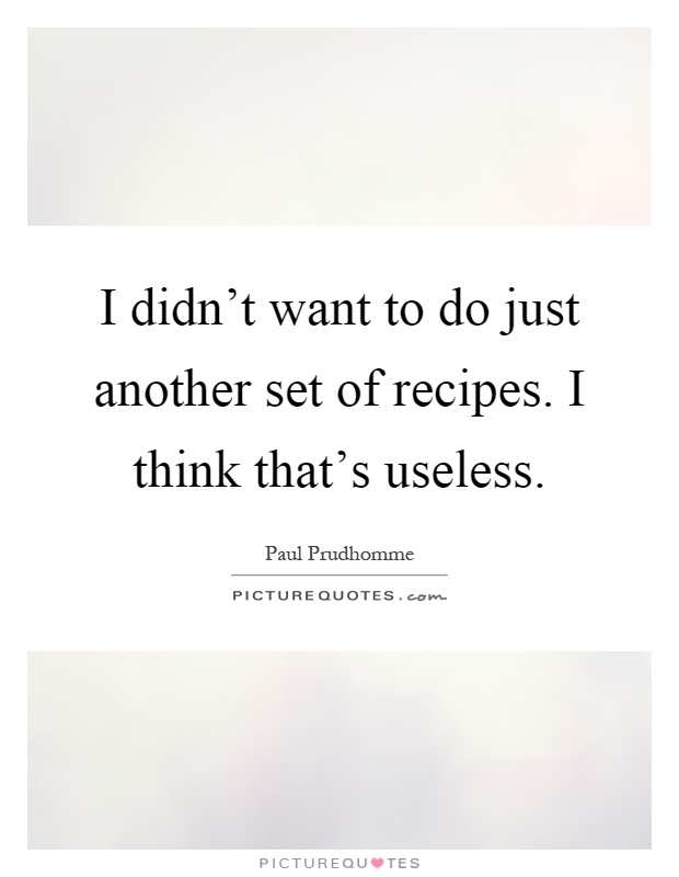 I didn't want to do just another set of recipes. I think that's useless Picture Quote #1