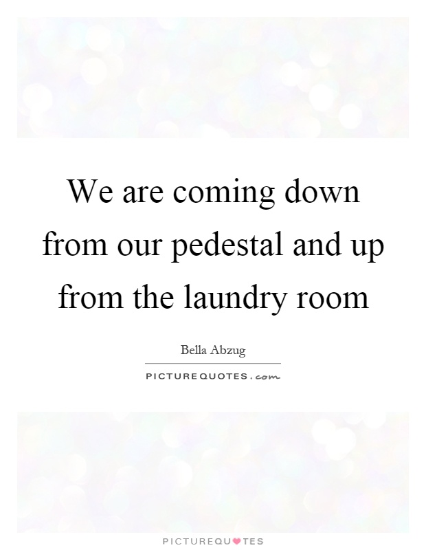 We are coming down from our pedestal and up from the laundry room Picture Quote #1
