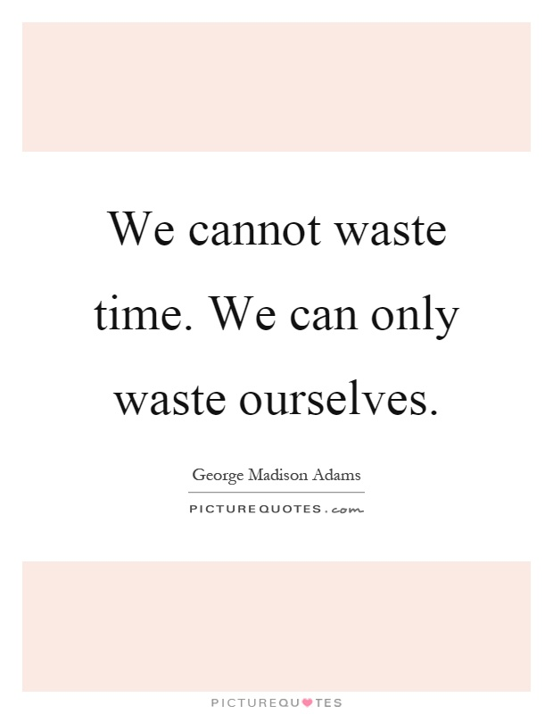 We cannot waste time. We can only waste ourselves Picture Quote #1