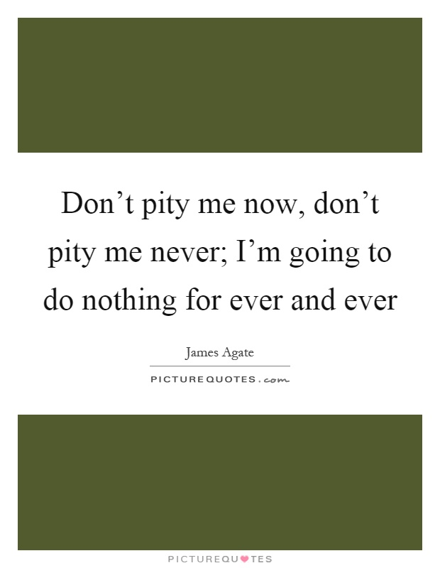 Don't pity me now, don't pity me never; I'm going to do nothing for ever and ever Picture Quote #1