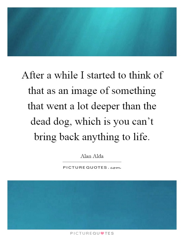 After a while I started to think of that as an image of something that went a lot deeper than the dead dog, which is you can't bring back anything to life Picture Quote #1