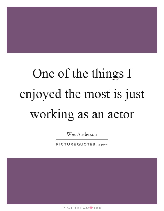 One of the things I enjoyed the most is just working as an actor Picture Quote #1