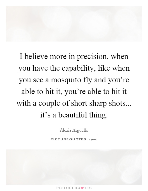 I believe more in precision, when you have the capability, like when you see a mosquito fly and you're able to hit it, you're able to hit it with a couple of short sharp shots... it's a beautiful thing Picture Quote #1