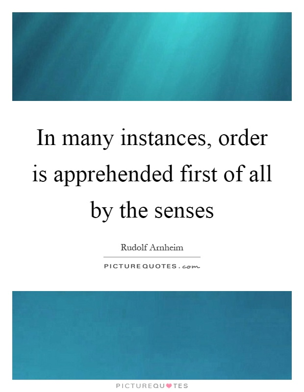 In many instances, order is apprehended first of all by the senses Picture Quote #1