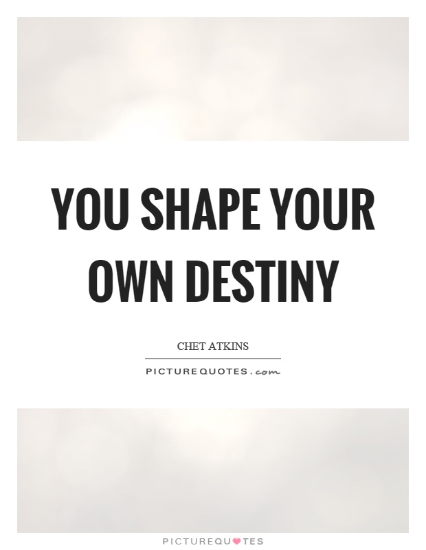 You shape your own destiny Picture Quote #1