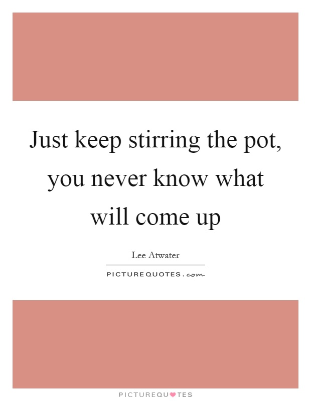Just keep stirring the pot, you never know what will come up Picture Quote #1