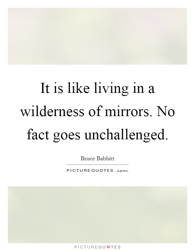 It is like living in a wilderness of mirrors. No fact goes unchallenged Picture Quote #1