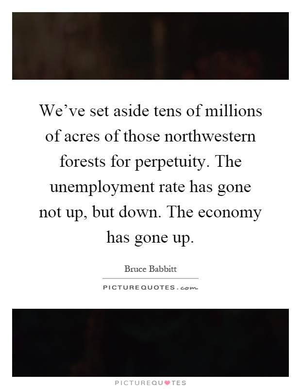 We've set aside tens of millions of acres of those northwestern forests for perpetuity. The unemployment rate has gone not up, but down. The economy has gone up Picture Quote #1