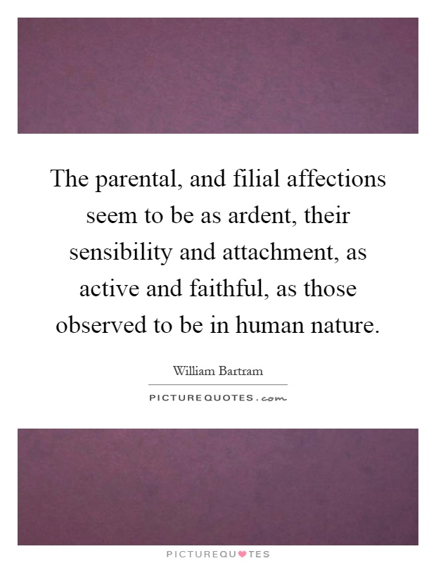 The parental, and filial affections seem to be as ardent, their sensibility and attachment, as active and faithful, as those observed to be in human nature Picture Quote #1