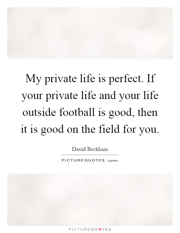 My private life is perfect. If your private life and your life outside football is good, then it is good on the field for you Picture Quote #1