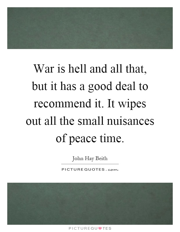 War is hell and all that, but it has a good deal to recommend it. It wipes out all the small nuisances of peace time Picture Quote #1