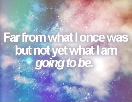 Far from what I once was but not yet what I am going to be.  Picture Quote #1