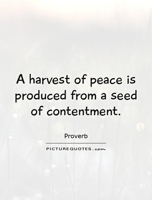 A harvest of peace is produced from a seed of contentment Picture Quote #1