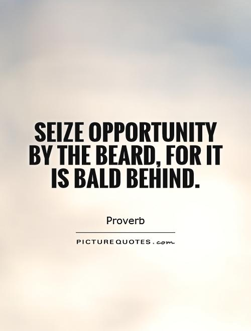 Seize opportunity by the beard, for it is bald behind Picture Quote #1