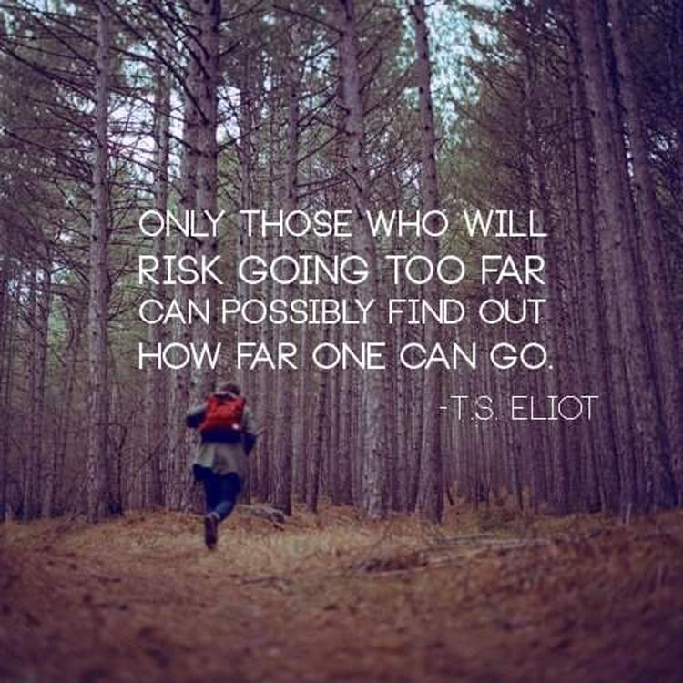 Only those who will risk going too far can possibly find out how far one can go Picture Quote #1
