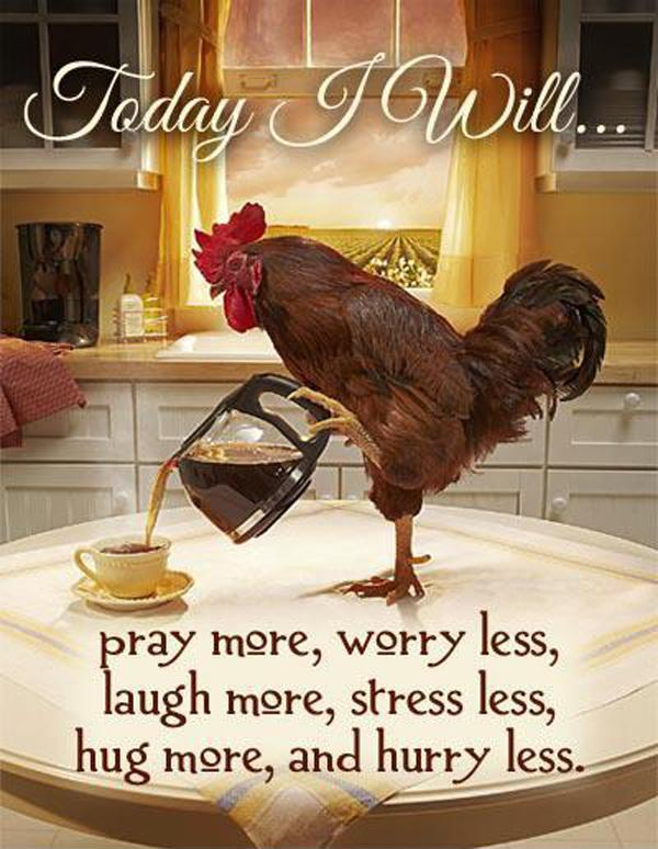 Today I will pray more, worry less, laugh more, stress less, hug more, hurry less Picture Quote #1
