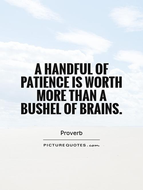 A handful of patience is worth more than a bushel of brains Picture Quote #1