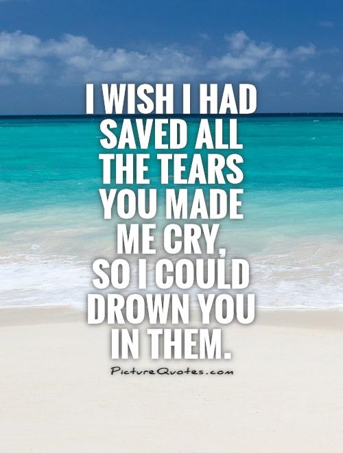 I wish I had saved all the tears you made me cry,  so I could drown you in them Picture Quote #1