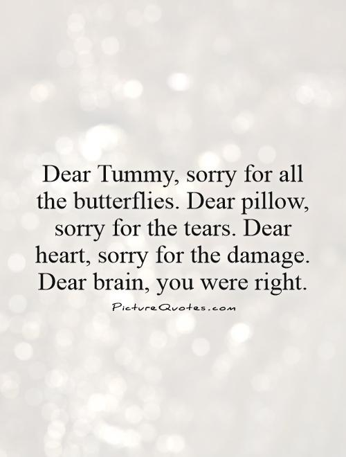 Dear Tummy, sorry for all the butterflies. Dear pillow, sorry for the tears. Dear heart, sorry for the damage. Dear brain, you were right Picture Quote #1