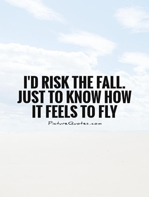 I'd risk the fall. just to know how it feels to fly Picture Quote #1