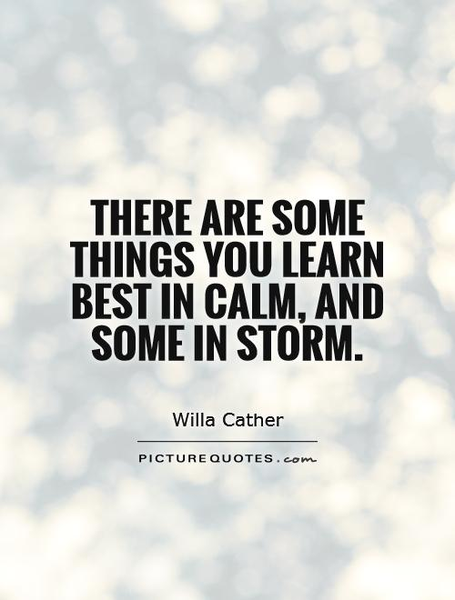 There are some things you learn best in calm, and some in storm Picture Quote #1