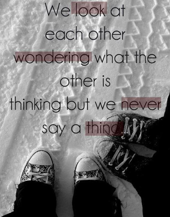 We look at each other wondering what the other is thinking but we never say a thing Picture Quote #1