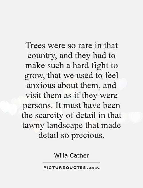 Trees were so rare in that country, and they had to make such a hard fight to grow, that we used to feel anxious about them, and visit them as if they were persons. It must have been the scarcity of detail in that tawny landscape that made detail so precious Picture Quote #1