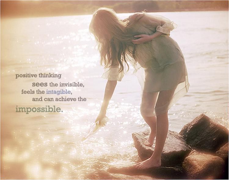 Positive thinking sees the invisible, feels the intangible, and can achieve the impossible Picture Quote #1