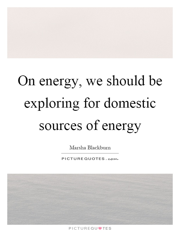 On energy, we should be exploring for domestic sources of energy Picture Quote #1