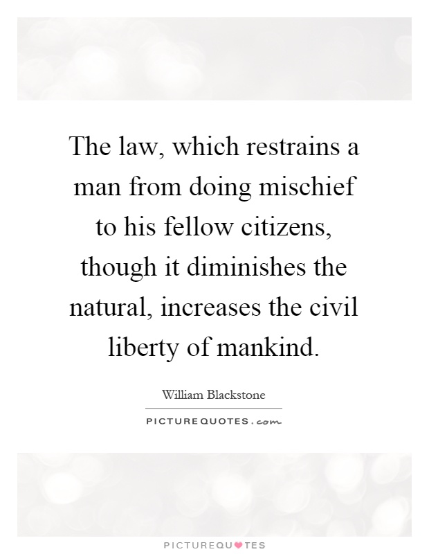 The law, which restrains a man from doing mischief to his fellow citizens, though it diminishes the natural, increases the civil liberty of mankind Picture Quote #1