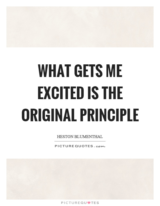 What gets me excited is the original principle Picture Quote #1