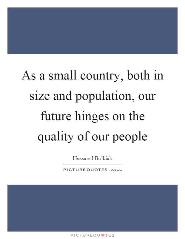 As a small country, both in size and population, our future hinges on the quality of our people Picture Quote #1