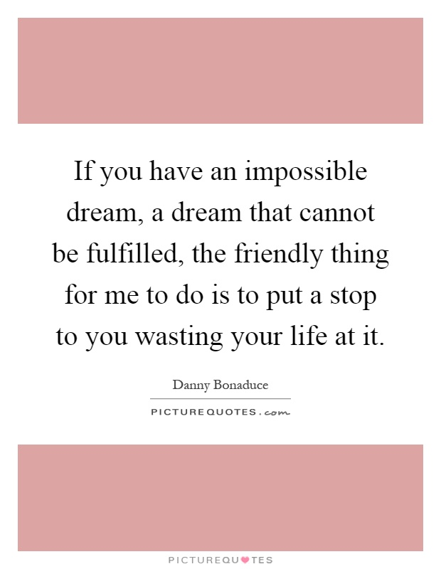If you have an impossible dream, a dream that cannot be fulfilled, the friendly thing for me to do is to put a stop to you wasting your life at it Picture Quote #1