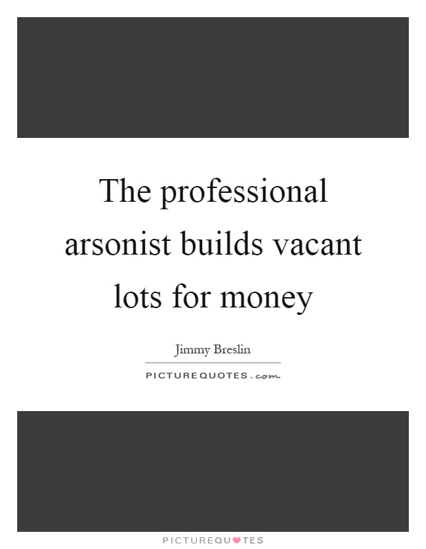 The professional arsonist builds vacant lots for money Picture Quote #1