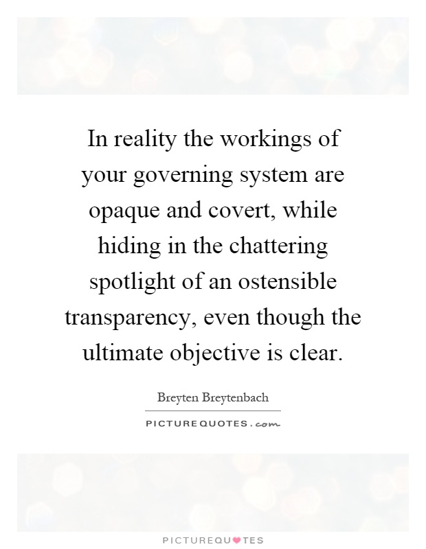 In reality the workings of your governing system are opaque and covert, while hiding in the chattering spotlight of an ostensible transparency, even though the ultimate objective is clear Picture Quote #1