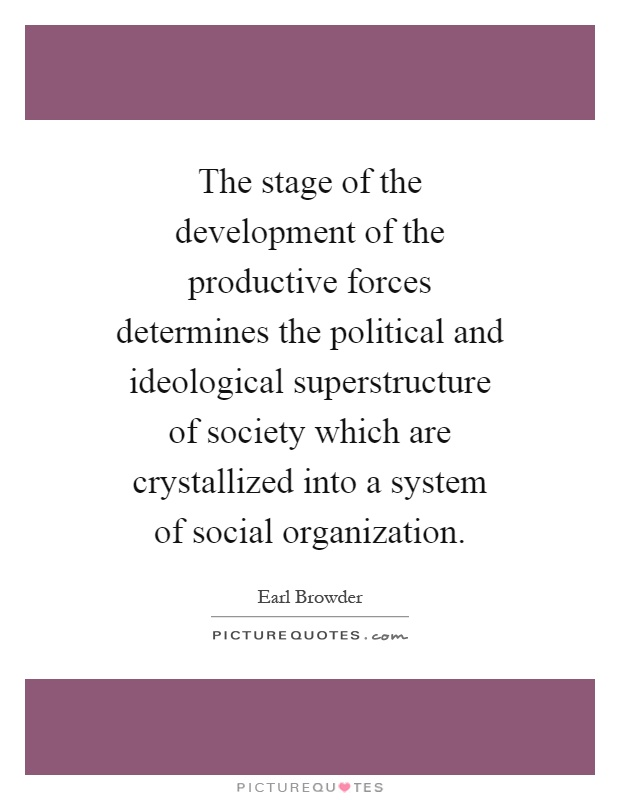 The stage of the development of the productive forces determines the political and ideological superstructure of society which are crystallized into a system of social organization Picture Quote #1