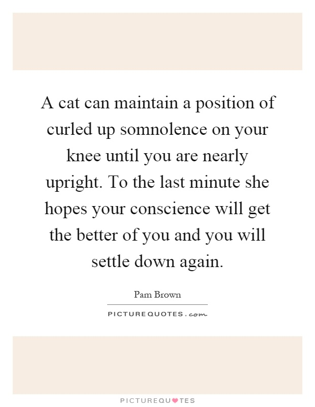 A cat can maintain a position of curled up somnolence on your knee until you are nearly upright. To the last minute she hopes your conscience will get the better of you and you will settle down again Picture Quote #1