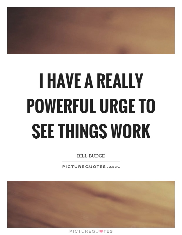 I have a really powerful urge to see things work Picture Quote #1