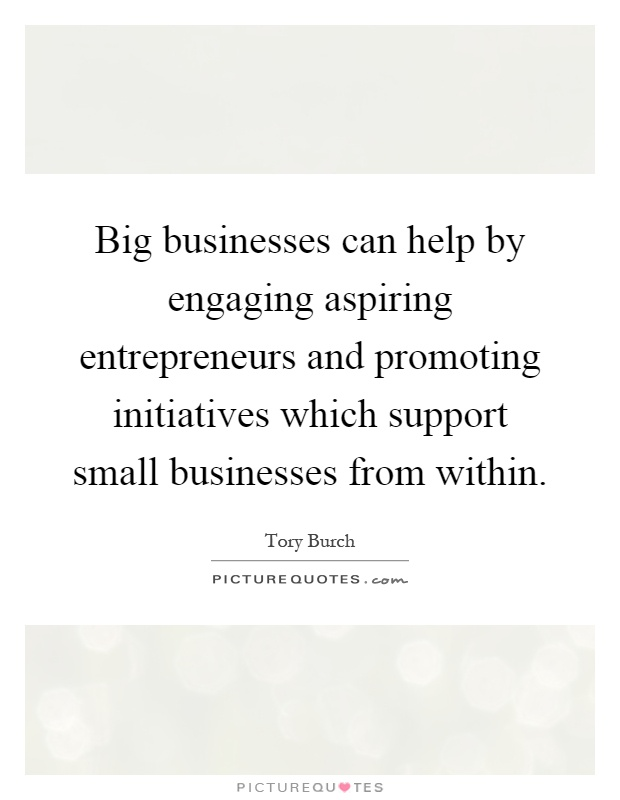 Big businesses can help by engaging aspiring entrepreneurs and promoting initiatives which support small businesses from within Picture Quote #1